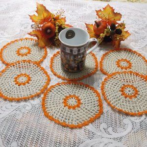 "Handmade Crocheted Fall Coaster Set - 5 1/2"""